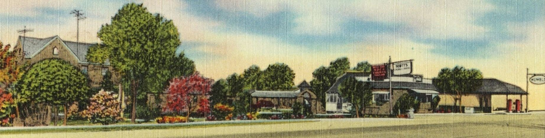 Post card with Bankhead Highway in the foreground and Rock Courts and Scott's in the background.