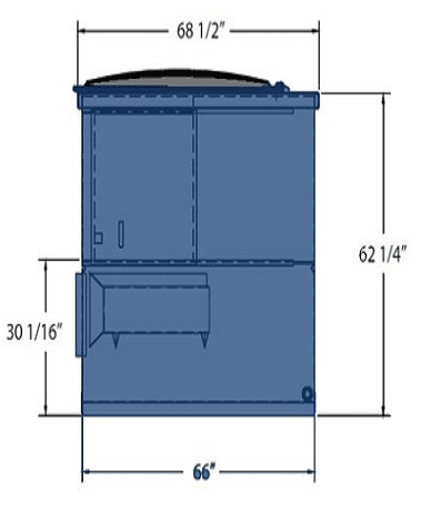 Picture of 6 cubic-yard front-load dumpster with dimensions