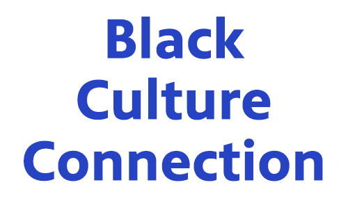 Black Culture Connection in blue on a white background