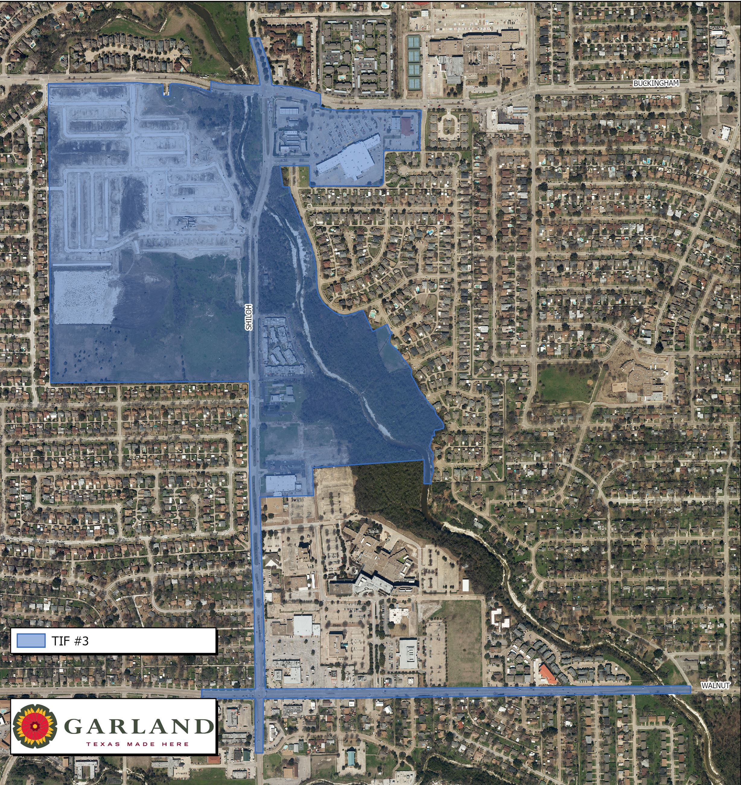 map of TIF 3 district in Garland